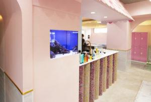 美容室様 壁面内蔵の可愛らしい海水魚水槽